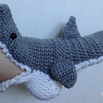 Crochet Shark Slipper Socks