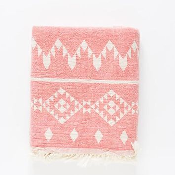 Turkish-T - Kilim Beach Towel | Coral