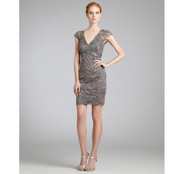 Sue Wong charcoal champagne beaded empire waist v-neck dress   BLUEFLY up to 70 off designer brands
