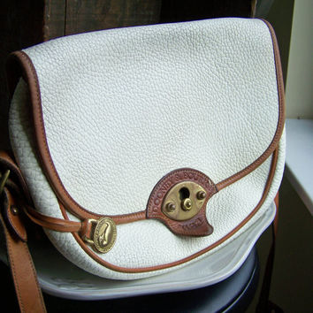 Etsy, Etsy Vintage, Vintage Handbag, Vintage Dooney and Bourke, Dooney and Bourke, Vintage Leather Bag, White and Tan, Large Cavalry Dooney