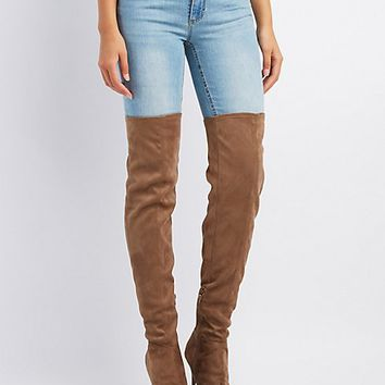 Peep Toe Lace-Up Over-The-Knee Boots