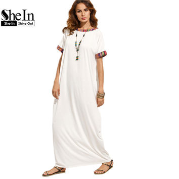 SheIn Summer Dress 2017 Womans Fashion Summer Dresses Casual Beige Colorful Striped Trim Short Sleeve Shift Maxi Dress