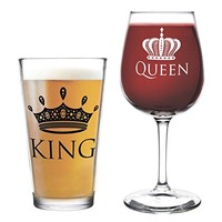 King Beer Queen Wine Glass- 16 oz. Pint Glass, 12.75 oz. Wine Glass