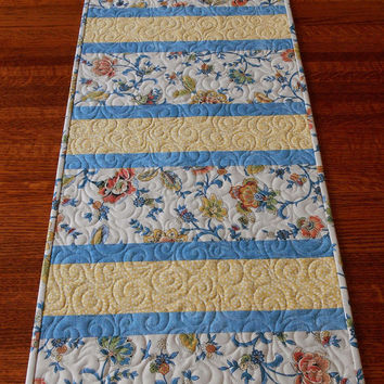 Quilted Table Runner in Blue and Yellow - Floral Print Table Runner - Modern Table Runner - Blue Yellow Green and Orange