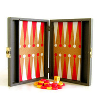Vintage Bakelite Backgammon Game Red Butterscotch Yellow Gold Chips Cube Mid Century Organic Cork Gameboard