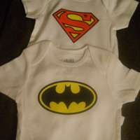 Baby Superhero Gift Pack. Batman and Superman Onesuit/ Bodysuits. Can Be Customized By Size.