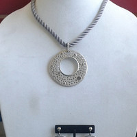 Vintage Chico's Matte Silver Rhinestone Pendant on Silk Rope with Two Pair of Earrings