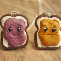 Cute Peanut Butter and Jelly Necklace Set. Kawaii. BFF. Best Friends.