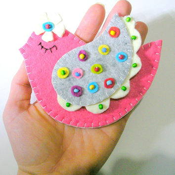 Curtain Holders- Curtain Tie Backs Magnet  With Felt Folk Art  Birds With Dots Winged