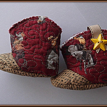 Quilted Baby Cowboy Cowgirl Boots, Booties.