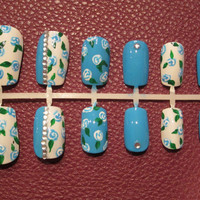 Hand painted presson nails blue and white by MichelleNailBoutique