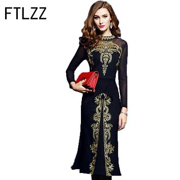 Winter And Autumn Dress Women Party Dresses X Long A-line Retro Slim Embroidery Dress Embroidered Gauze Slim Sexy Ladies Dress