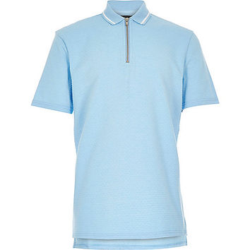 River Island Boys blue textured zip neck polo shirt