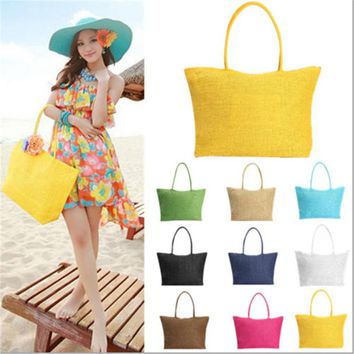 qicaiyanzi Brand Design Summer Style Straw Popular Weave Woven Tote Shopping Beach Bag Handbag Shoulder N770 Bolsa Feminina