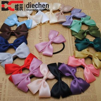 ICIKHY9 2pc assorted colors sweety solid satin ribbon bows elastics rubber bands hair rope hair ties accessories for women headwear