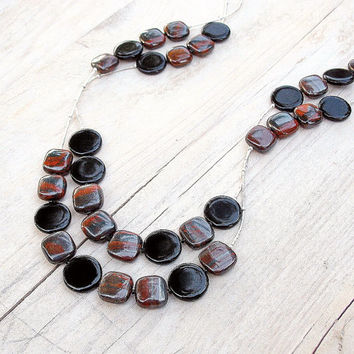 Long Beaded Silver Double Strand Necklace, Earth Tones, Burnt Umber Rust Grey Black Gemstone Beads, Multi Chain OOAK