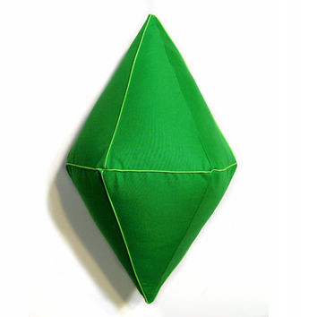 "20"" PlumBob Pillow - The Sims Inspired Emerald Green Plush PlumBob"