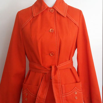 70's jacket, S, M, twill jacket, cotton jacket, orange jacket, belted jacket, fall jacket, red jacket, fall coat, trench coat