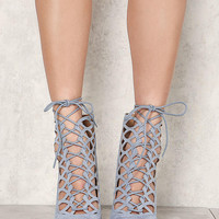 Dusty Blue Suedette Laser Cut Lace Up Heels