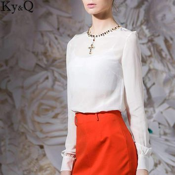 Ky&Q 2017 Hot Sale Luxury Women's Top Shirts Long Sleeve O Neck Diamond Appliques White T Shirts Office Ladies Summer