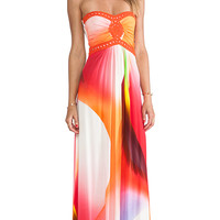 sky Sabi Strapless Dress in Orange