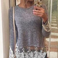Flirty Lace Trim Long Sleeve T-Shirt