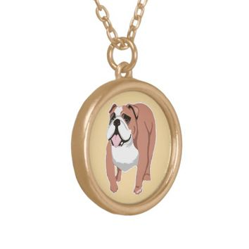 English Bulldog Art Necklace