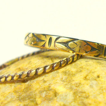Gold wedding rings floral band and twist yellow by WatchMeWorld