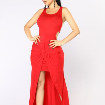 Raina Draped Dress - Red