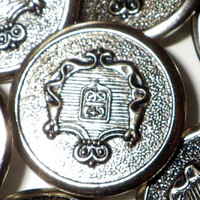 Vintage Silver Colored Metal Buttons with Coat of Arms