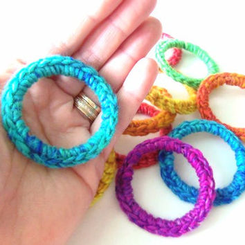 5 Rainbow Cat Toys Toy Rings, Kitten Ferret Toy, Handmade, Hand Crocheted, Recycled Upcycled, ROYGBIV Colors