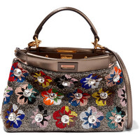 Fendi - Peekaboo small beaded metallic leather shoulder bag