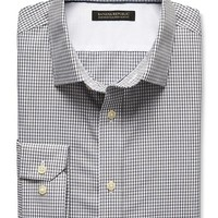 Banana Republic Mens Tailored Slim Fit Non Iron Heathered Gingham Shirt