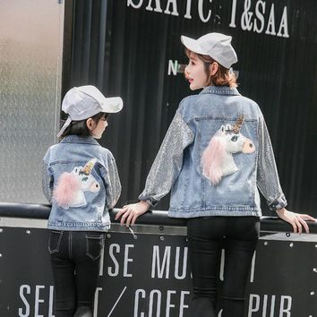 Trendy Family Matching Outfits Unicorn Denim Jacket Mother and Daugther Denim  Jacket Coat  Girls Women Casual Silver Sequins Jackets AT_94_13