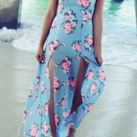 Aloha Floral Print Tube Top High Slit Maxi Dress