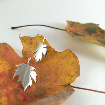 maple leaf earrings, sterling silver sugar maple posts, tree designs