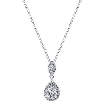Pear Shaped Cluster Diamond Drop Necklace