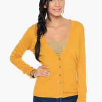 Mustard Preppy V Neck Long Sleeve Button Up Cardigan | $10 | Cheap Trendy Cardigans Chic Discount F