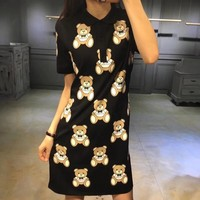 """Moschino"" Fashion Cute Cartoon Bear Print Lapel Short Sleeve Polo Shirt Mini Dress"