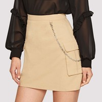 Flap Pocket Side Skirt With Chain