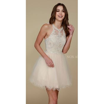 Short Champagne Homecoming Dress Poofy A Line Tulle Skirt Halter Neck