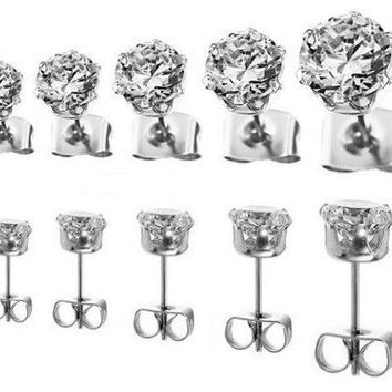 Prime Round Cubic Zirconia set of 5 cz Stud Earrings 3 4 5 6 7 mm Unisex Hypoallergenic Nickel Free