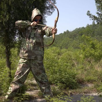 Men Bionic Bush Camouflage Hunting Suit Mesh Lining Breathable Bowhunt Clothes Men Outdoor Jungle Forest Clothes Safari Clothes