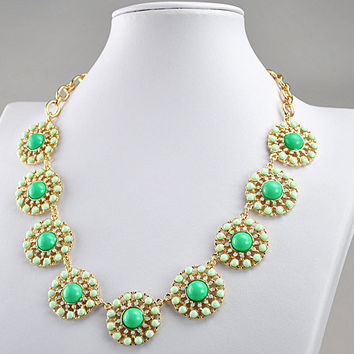 Bubble Necklace Statement Necklace Flower Necklace Floral Necklace Bubble Necklace(FN0610-Lake Blue)