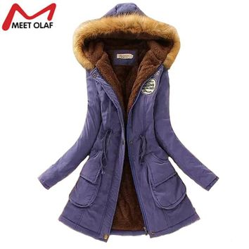 Winter Coat and Jacket Women Fashion Womens Fur Collar Coats Lady Slim Cotton Padded Parka Autumn Hooded Faux Fur Parkas YL021