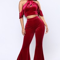 Believe In The Bell Bottom Matching Set - Burgundy