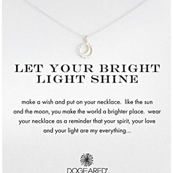 "Dogeared ""Reminder"" Let Your Bright Light Shine Sun and Moon Sterling Silver Pendant Necklace, 16.25"""