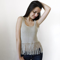FREE SHIPPING Linen summer cropped top Womens knit top Beige Crop tank top Festival top Fringed top Teenage girl tank Light summer knitwear