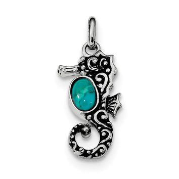 925 Sterling Silver Rhodium, Oxidized Recon. Turquoise Seahorse Shaped Pendant