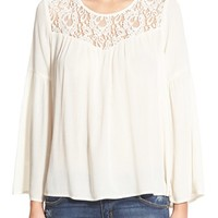 Junior Women's Flying Tomato Lace Inset Bell Sleeve Top,
